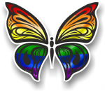 Ornate Butterfly Wings Design With LGBT Gay Pride Rainbow Flag Motif Vinyl Car Sticker 100x85mm